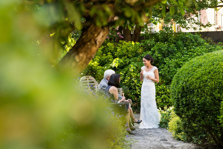 bride with friend in garden