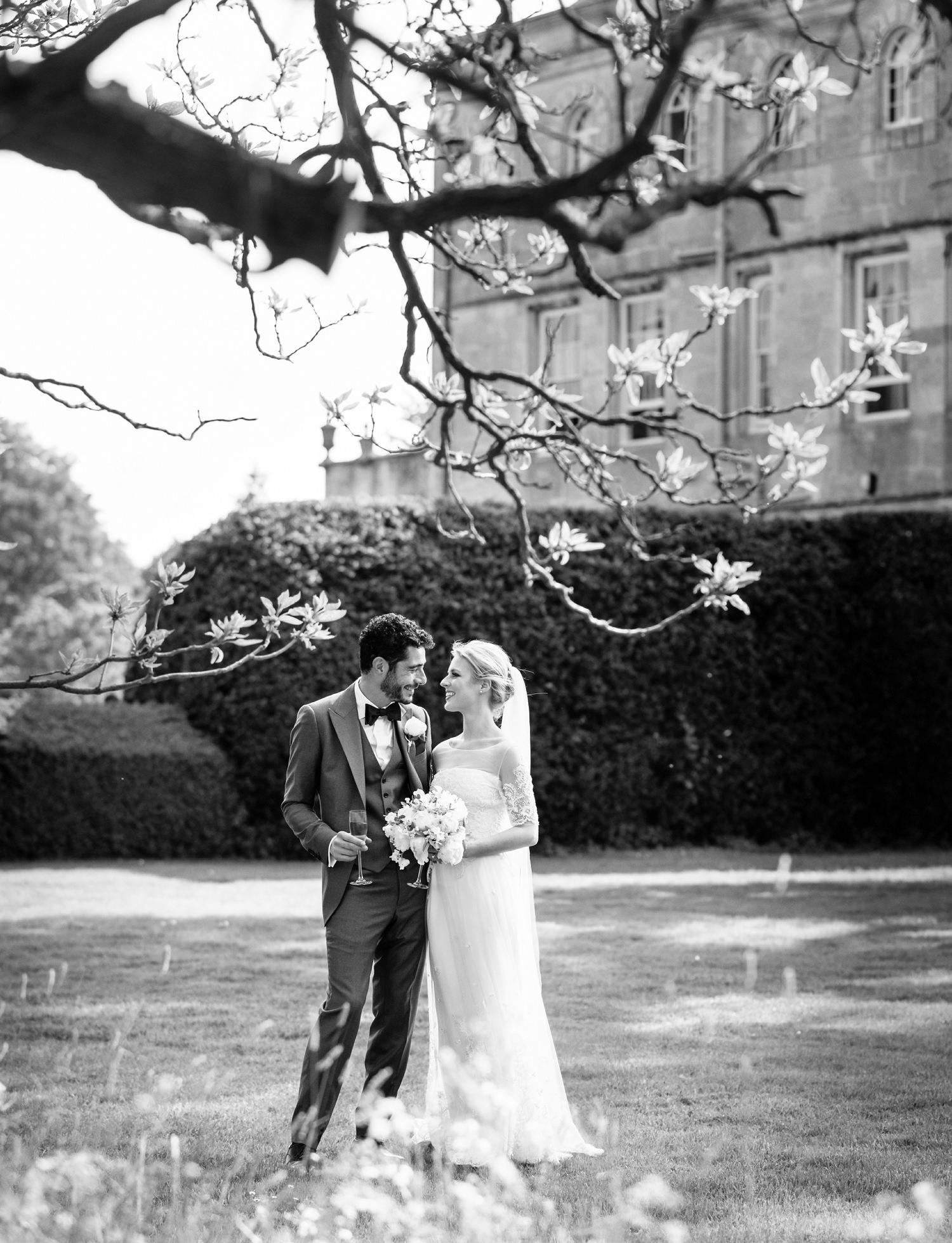 bride and groom at Elmore court