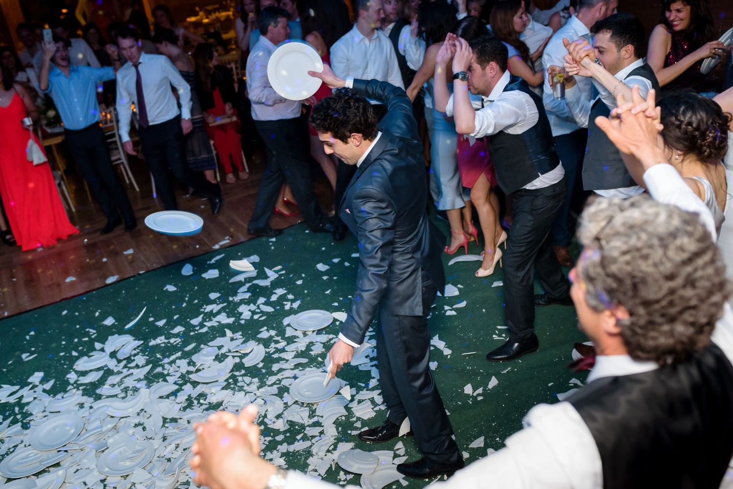 plate smashing at greek wedding