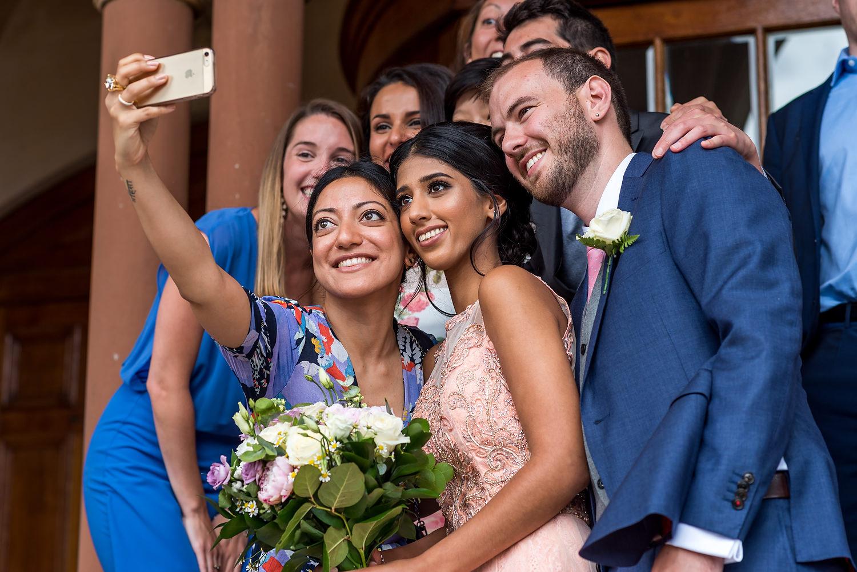 selfie with bride at wedding