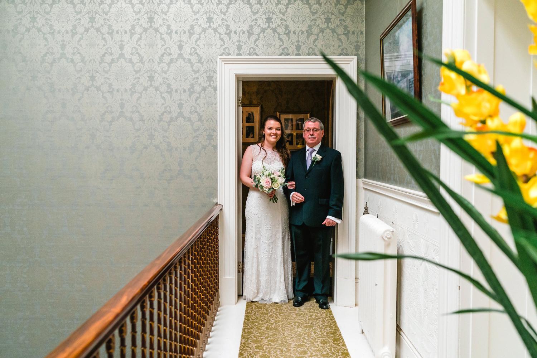 bride with father at Penton Park Wedding