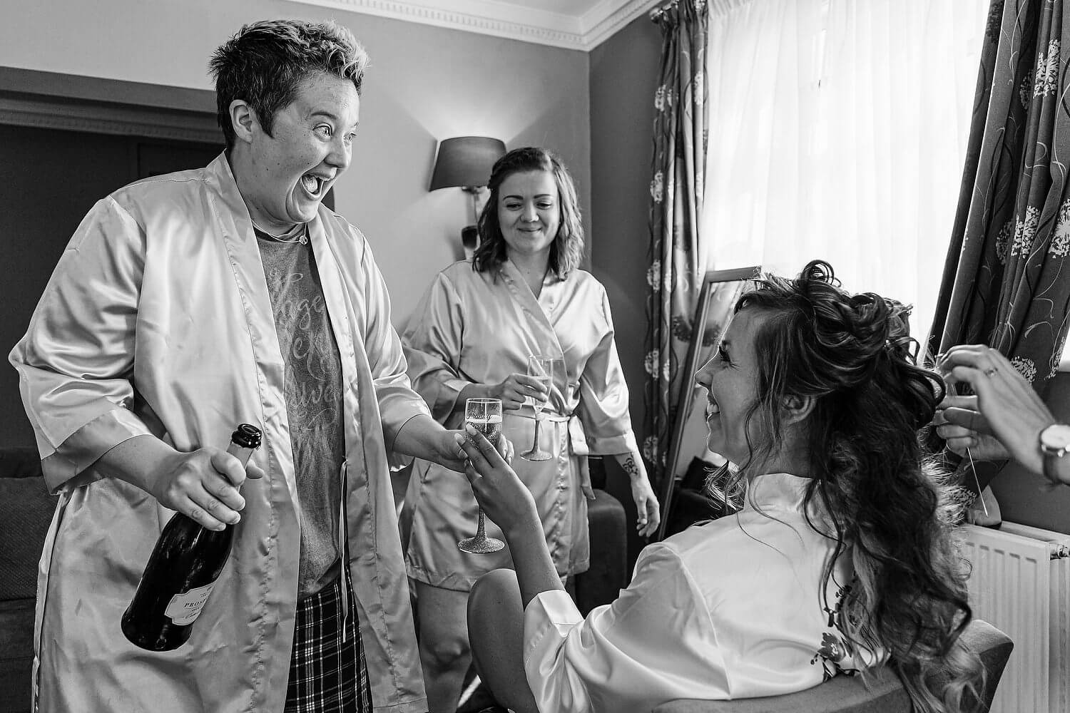 bride getting ready at lythe hill hotel