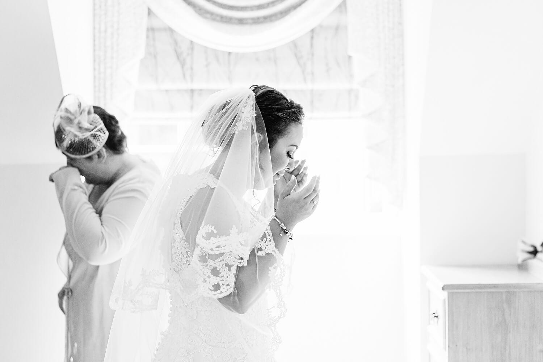 bride crying at wedding