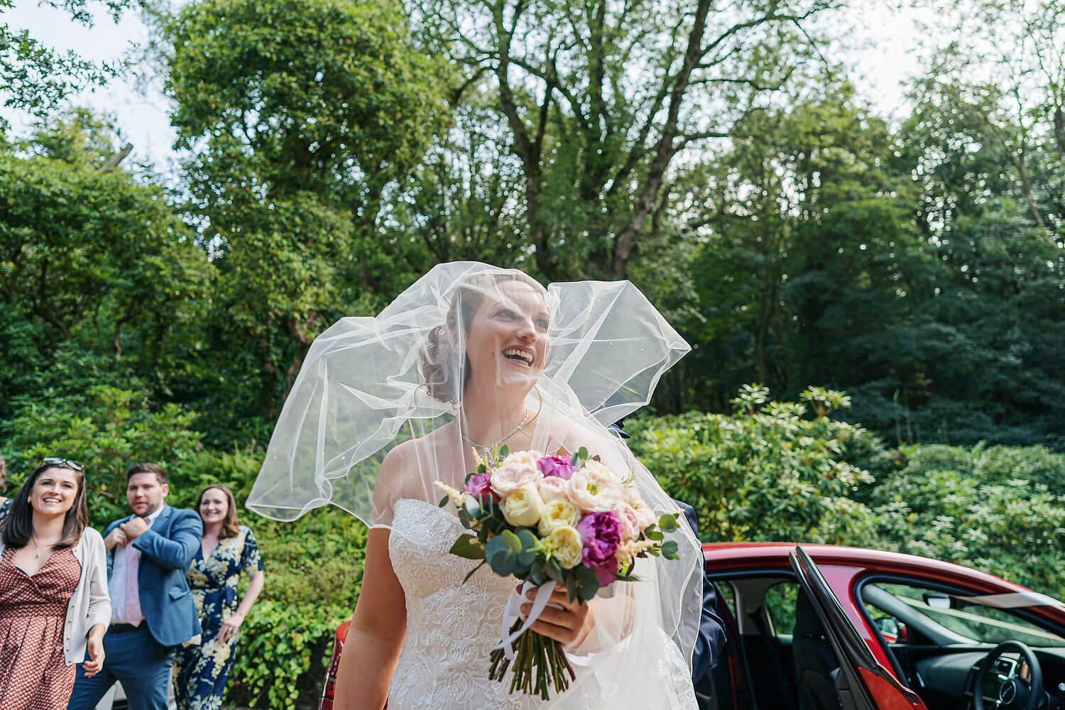 bride and veil at ramster hall wedding