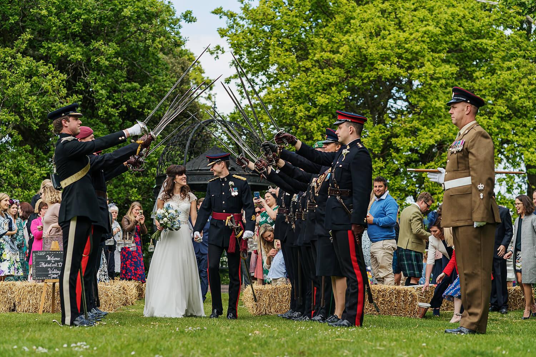 guard of honour at tournerbury estate wedding