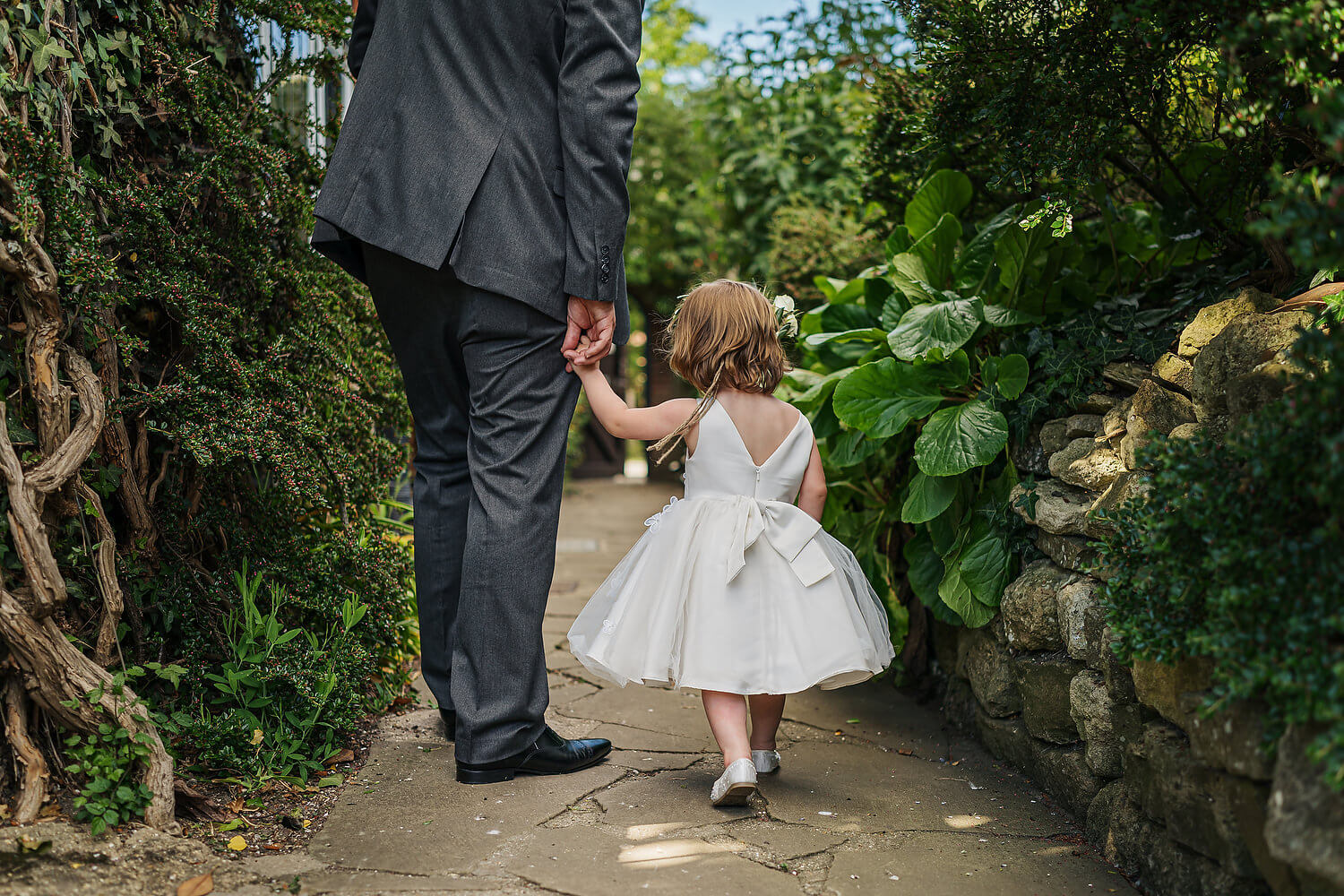 groom and daughter at montagu arms wedding
