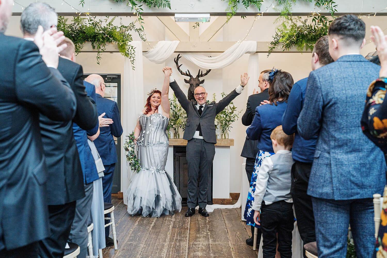 groom celebrating at dorset wedding