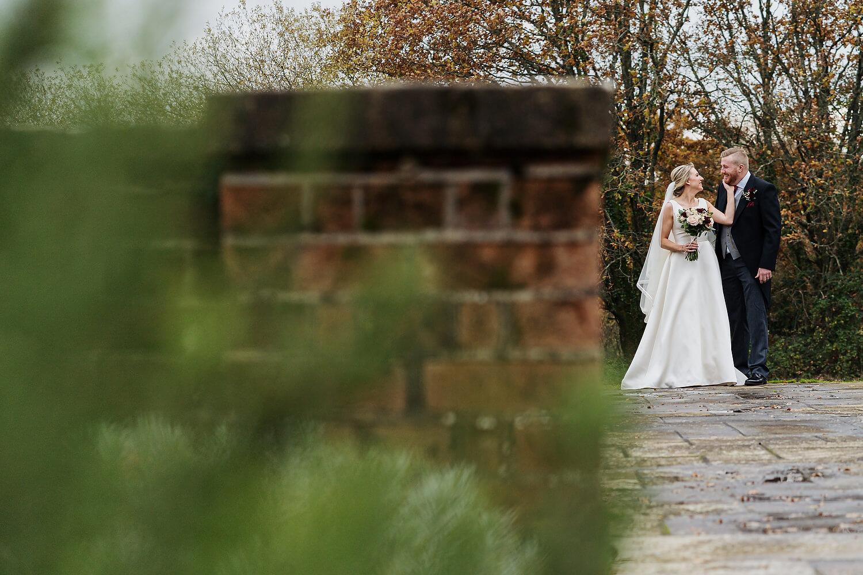 bride and groom at bartley lodge wedding