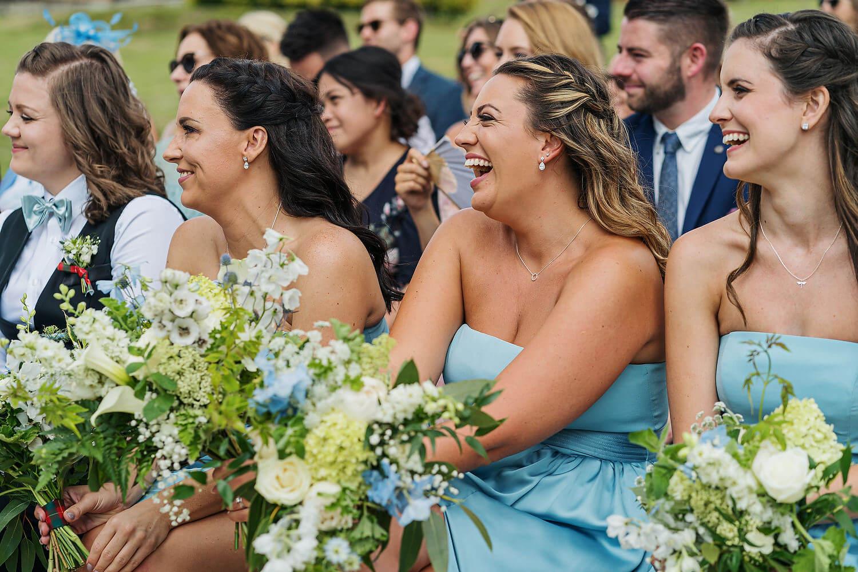 bridesmaids laughing at lythe hill hotel wedding