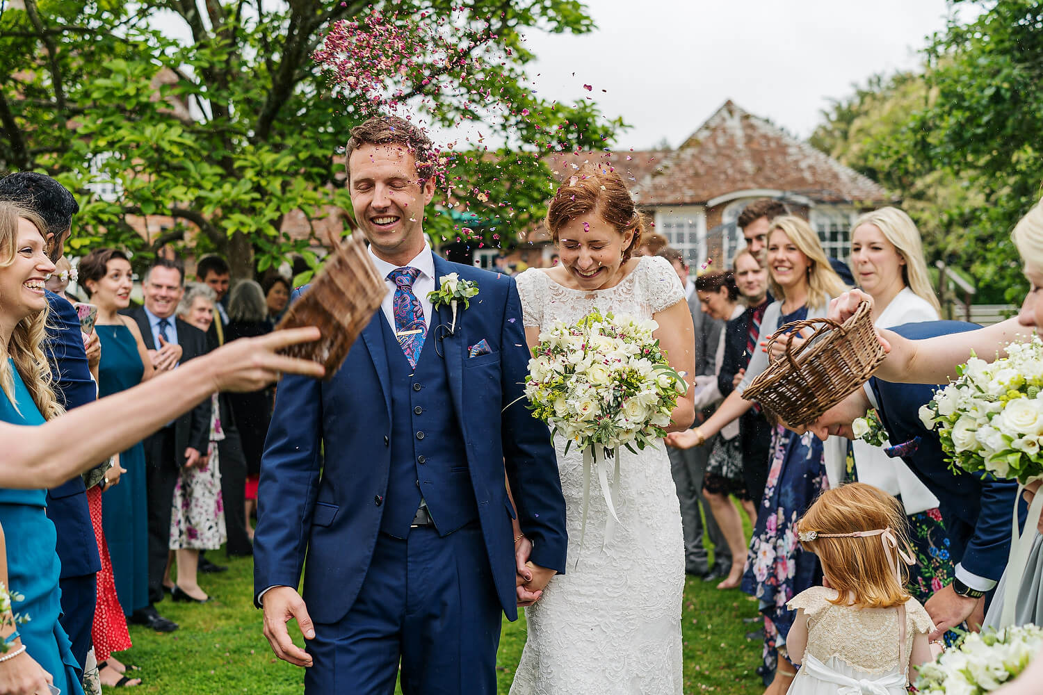 confetti at the master builders wedding new forest