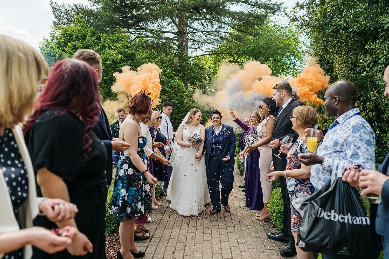 confetti at gay wedding audleys wood