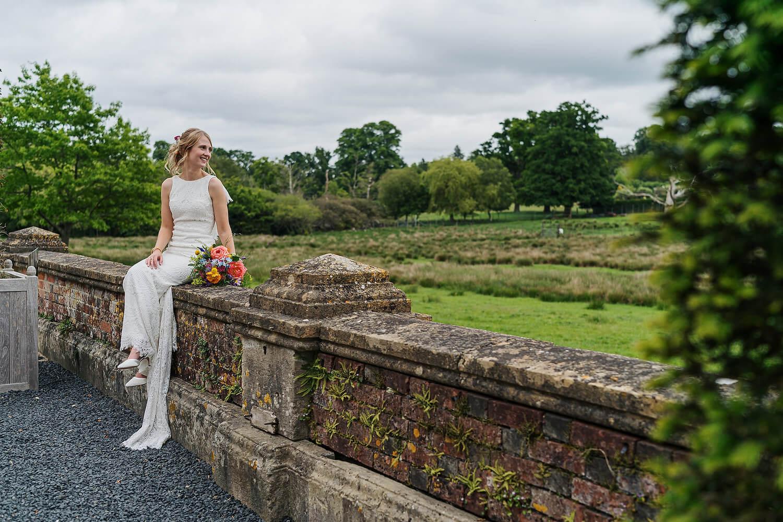bride on wall at burley manor