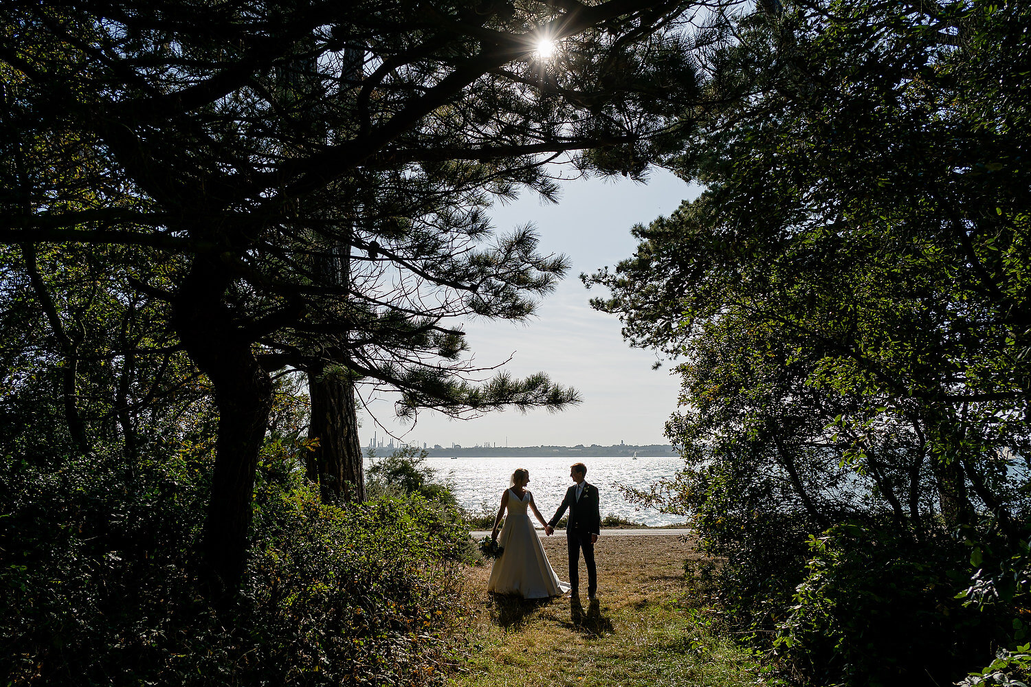 bride and groom by southampton water