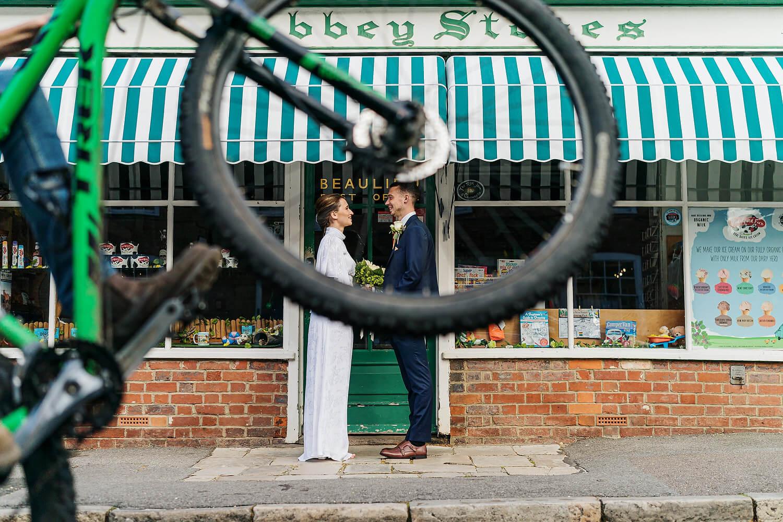 bicycle at montagu arms wedding