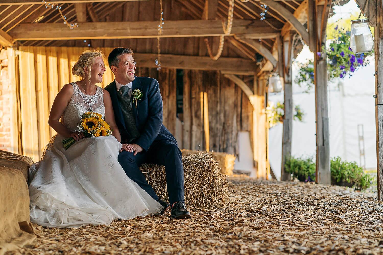 bride and groom at romsey farm wedding