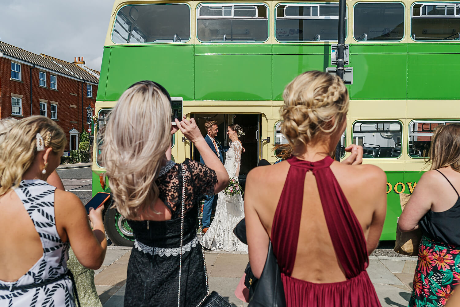 bride and groom on bus at southsea beach cafe