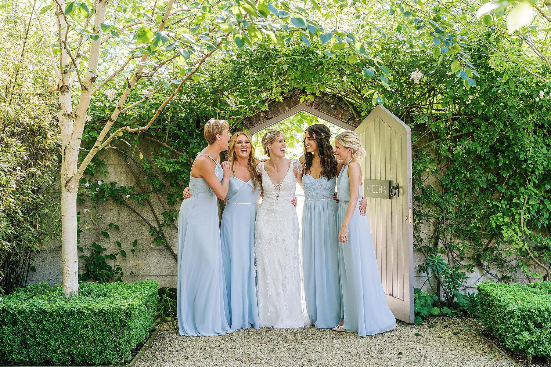 bridesmaids laughing at axnoller wedding dorset