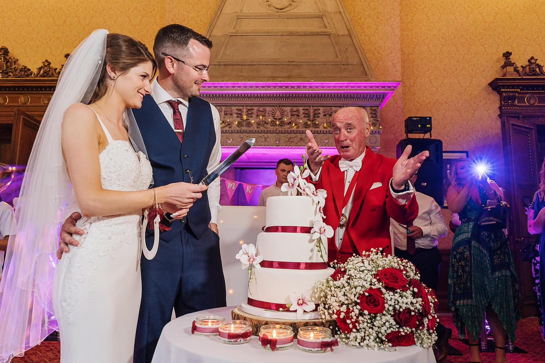 cake cutting at elmers court wedding