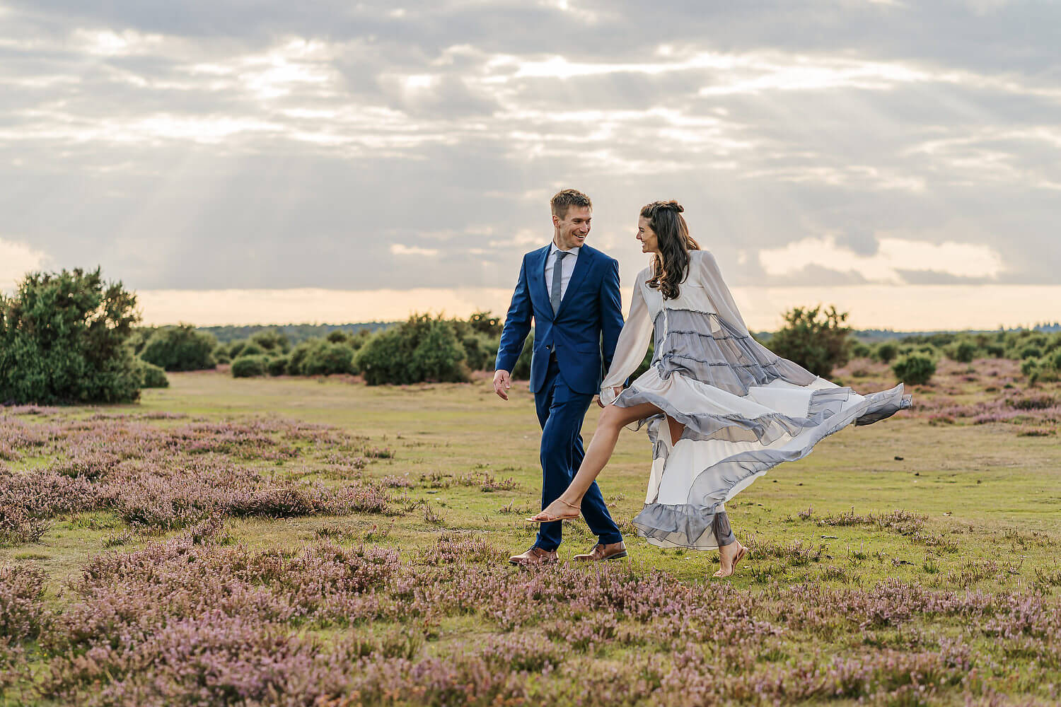 bride and groom in the new forest