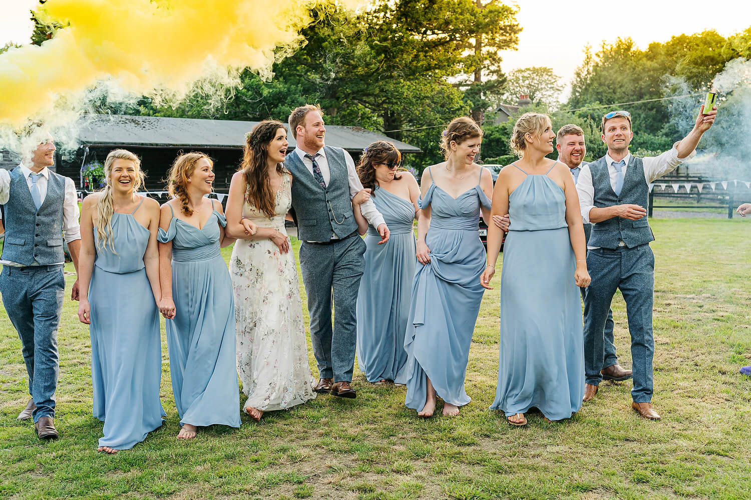 smoke bombs at new forest wedding