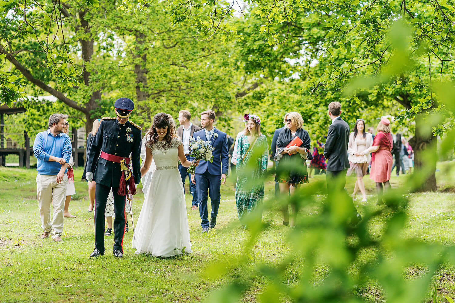 bride and groom walking at hayling island wedding