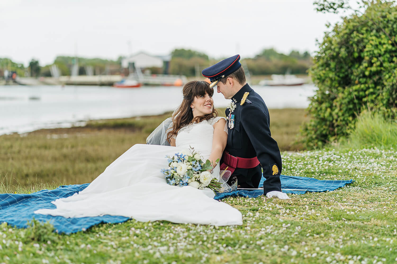 bride and groom hayling island wedding