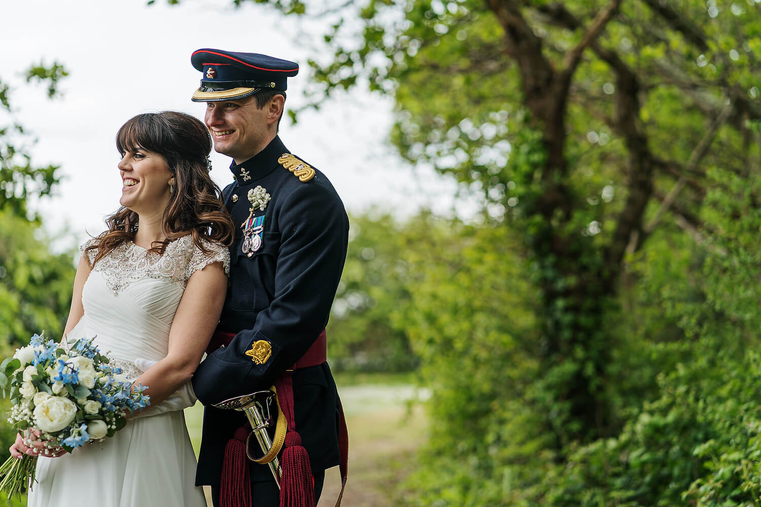 bride and groom embrace hayling island wedding
