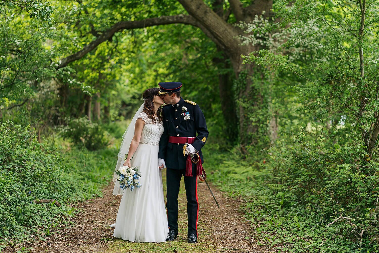 bride and groom kissing hayling island wedding