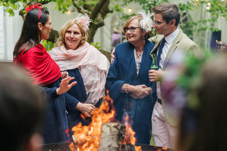 firepit at tournerbury woods wedding