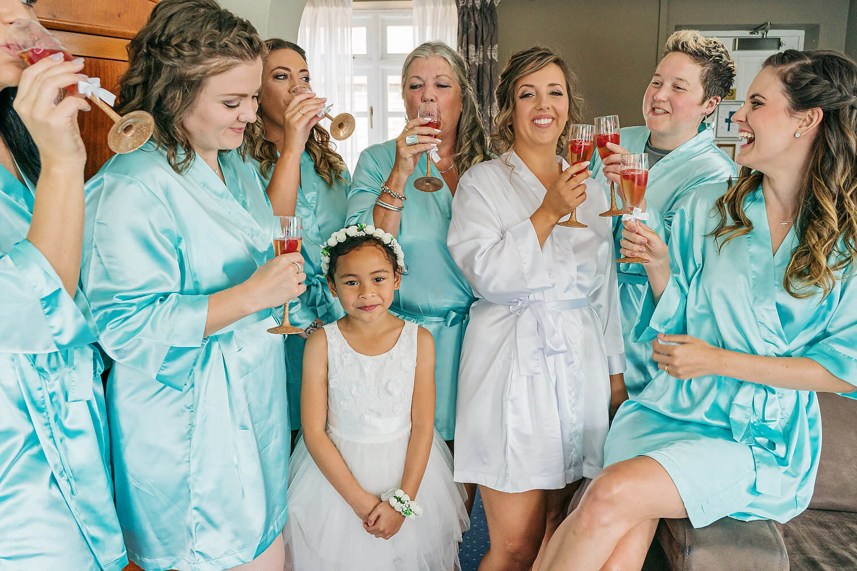 bridesmaid with bride at lythe hill wedding
