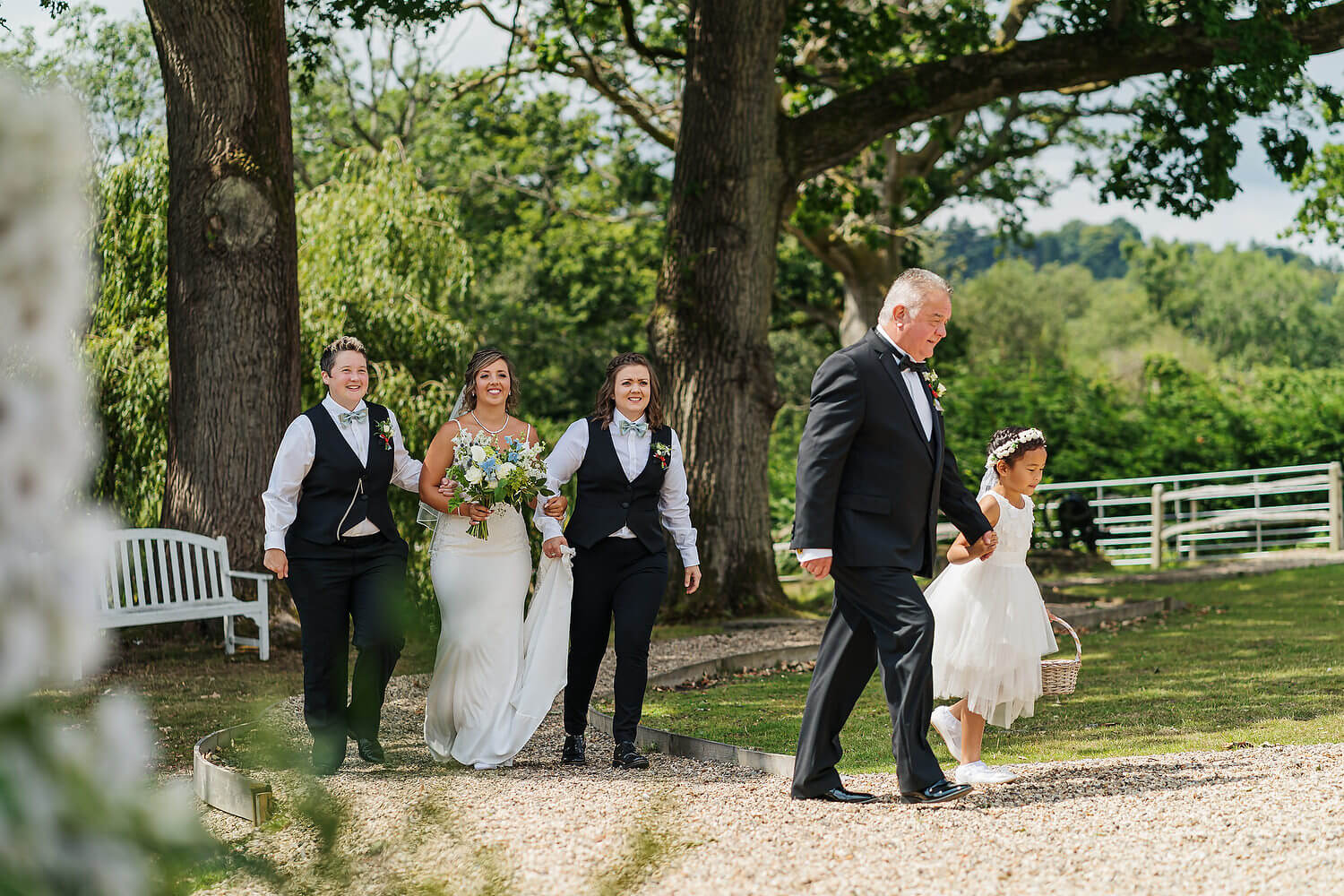 bride arriving for outdoor wedding at lythe hill hotel