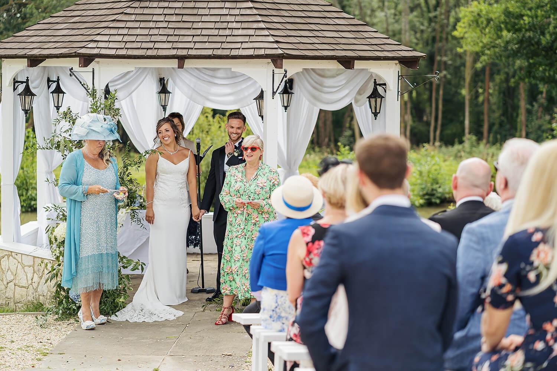 bride and groom outdoor wedding surrey