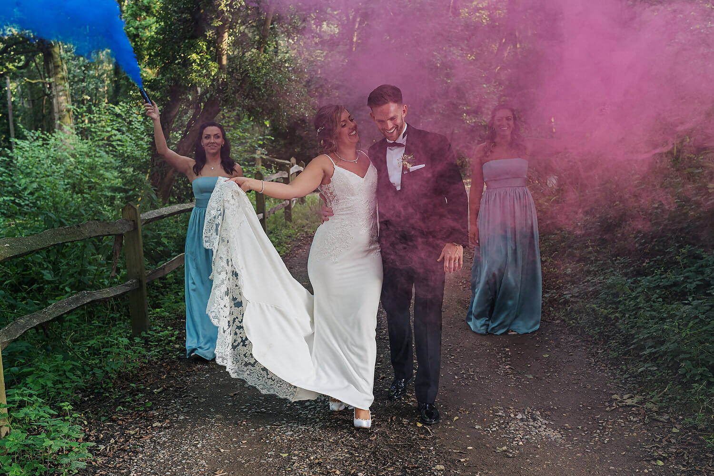 smoke bombs at surrey wedding
