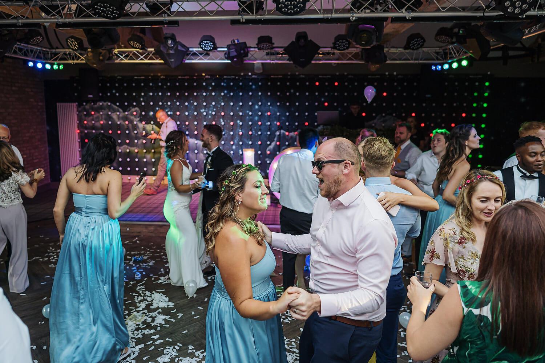 wedding guests dancing surrey wedding