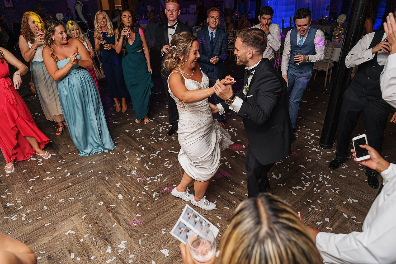 bride and groom dancing at lythe hill hotel surrey