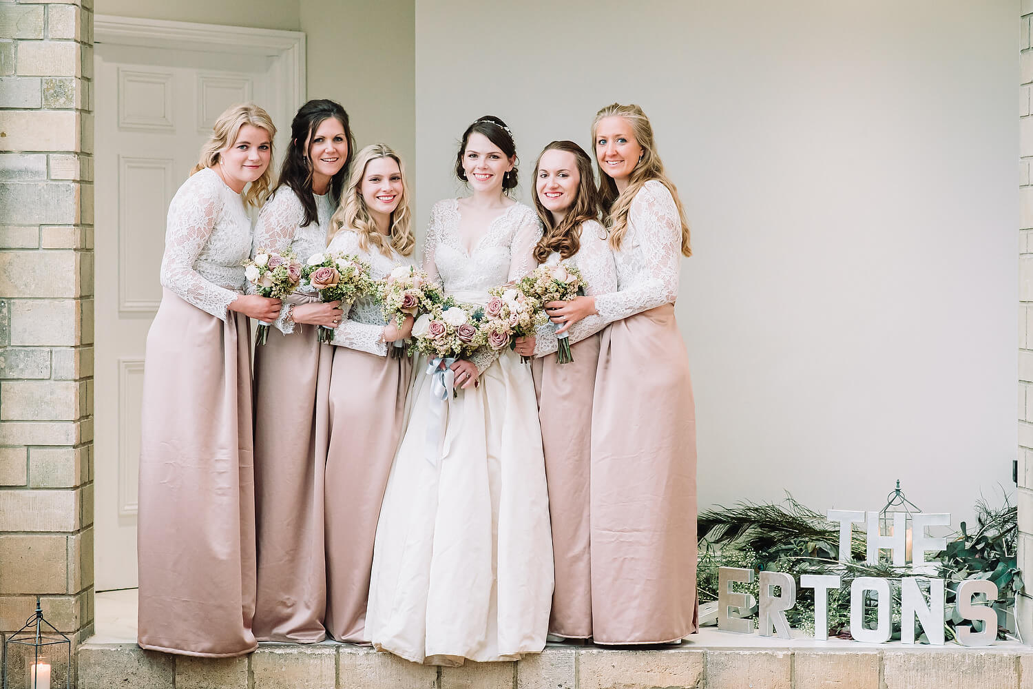 bride and bridesmaids at froyle park