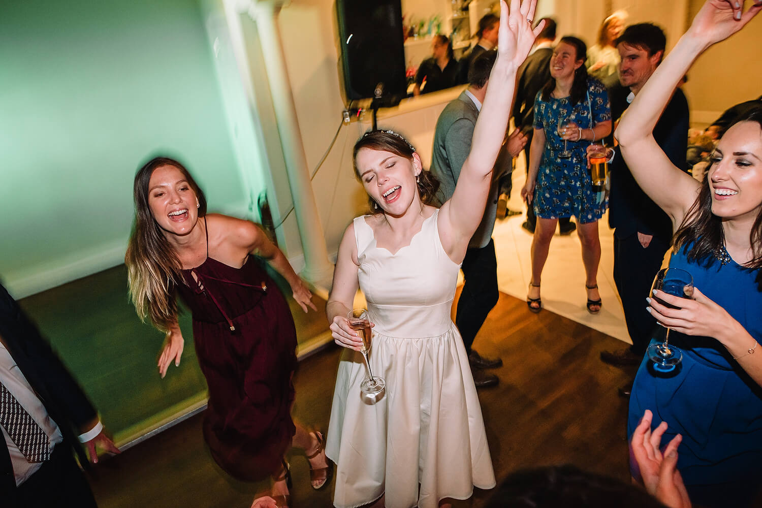 bride on dance floor at hampshire wedding