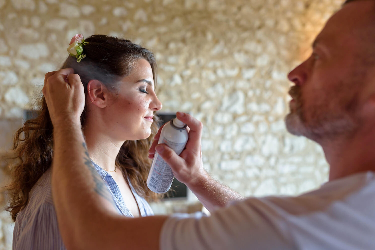 bridesmaid getting ready at lulworth castle wedding