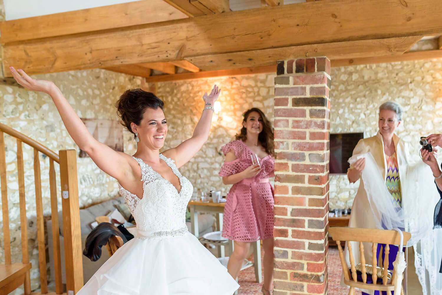bride dressed at lulworth castle wedding