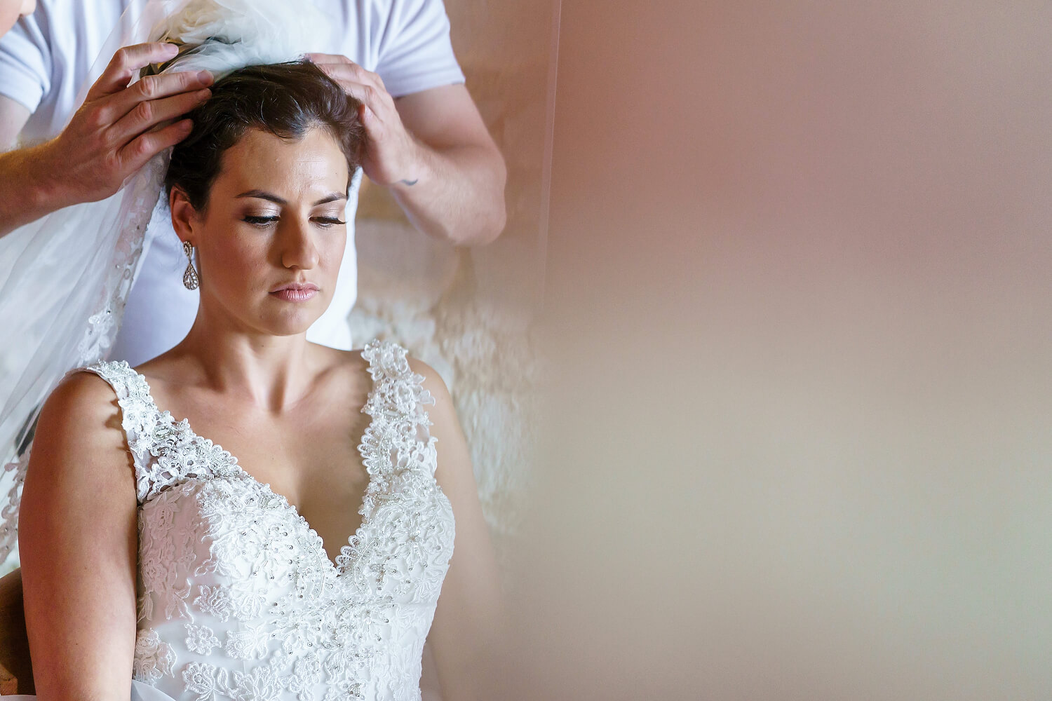 bride getting ready at lulworth castle