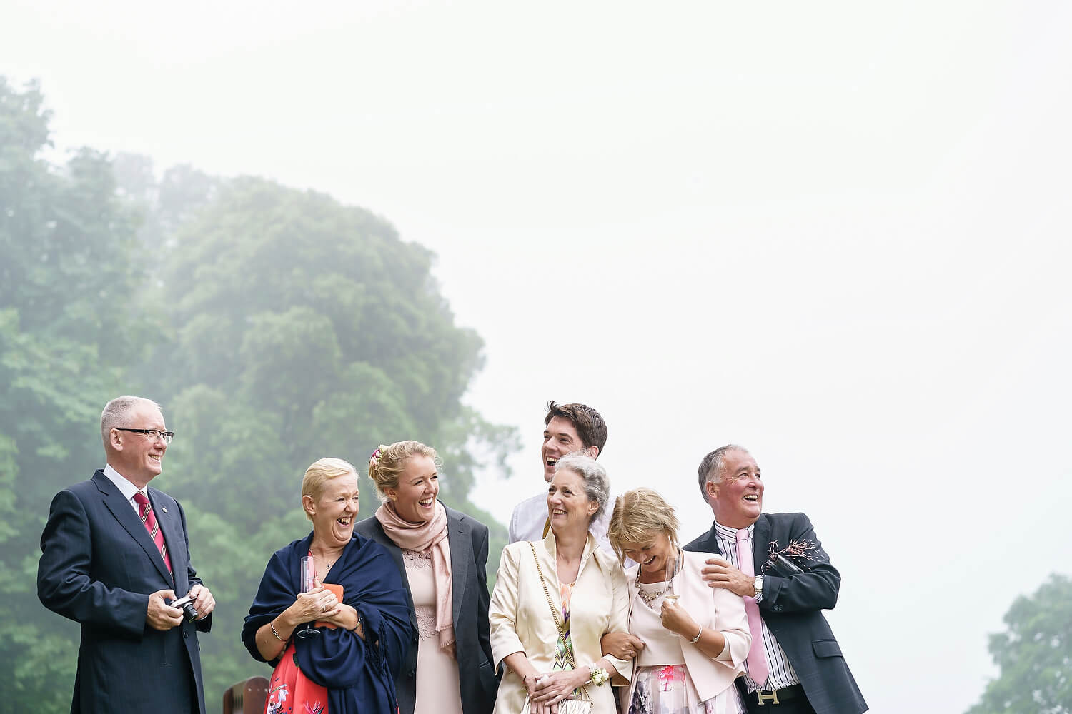 wedding guests at lulworth castle