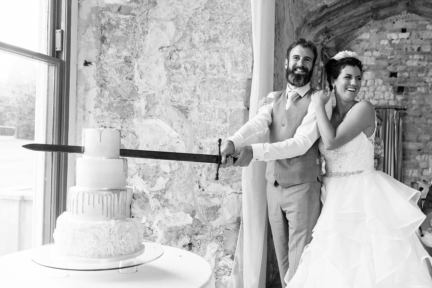 cake cutting at lulworth castle