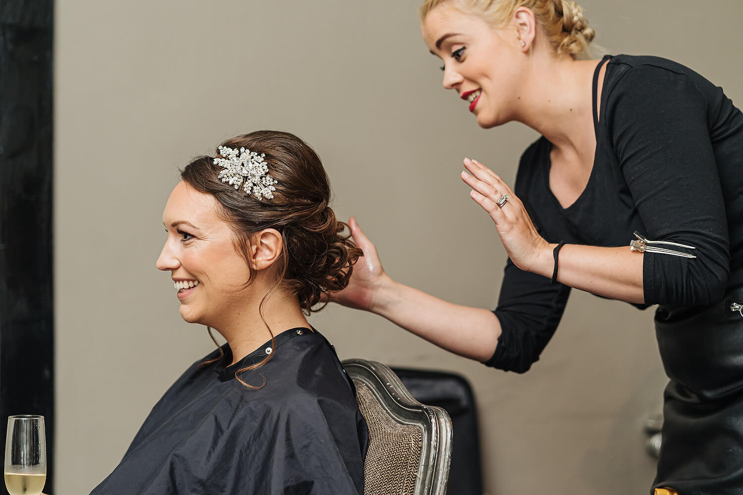 bridal prep at surrey wedding