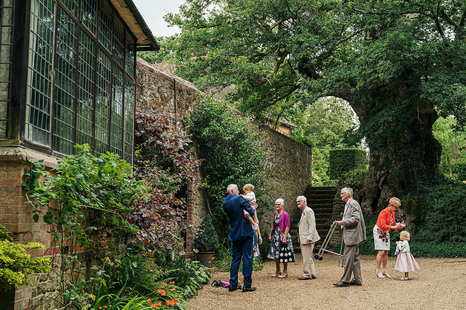 guests arriving at ramster hall wedding venue