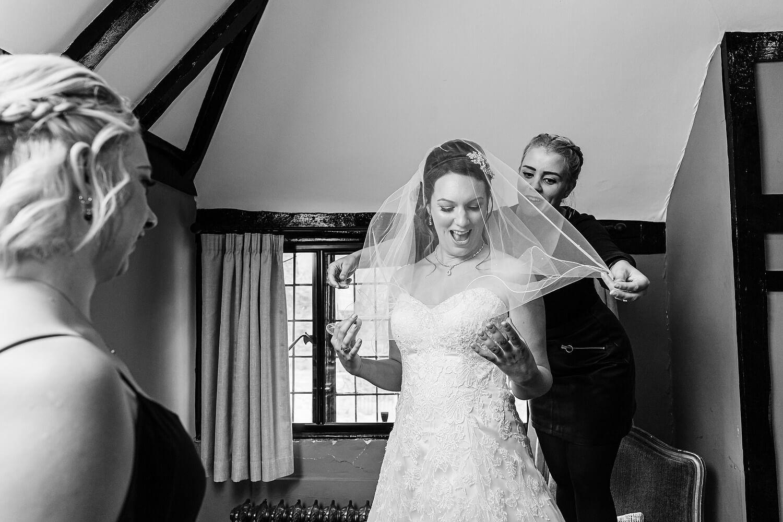 wedding dress on bride at surrey wedding venue