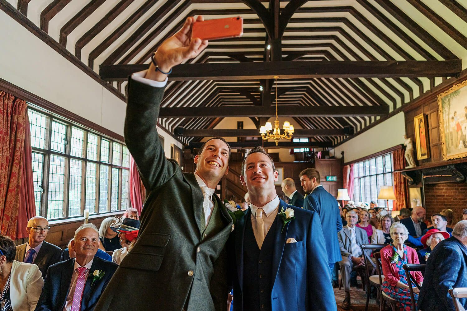 groom and bestman at ramster hall ceremony