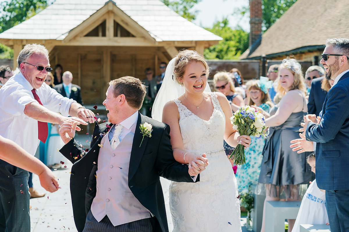 bride and groom at southend barns